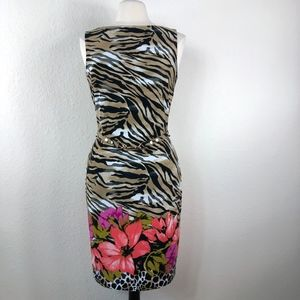 NWT Cache Tiger Print & Floral Sheath Dress Size M